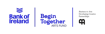 Horizontal lock up of the Bank of Ireland, Begin Together Arts Fund and Business to Arts logos.