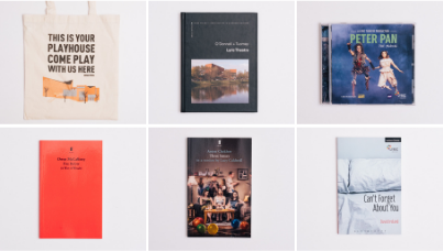 A collage of six images of products available in the Lyric Theatre shop.