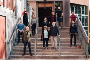The creative team behind Demouement standing outside the Lyric Theatre